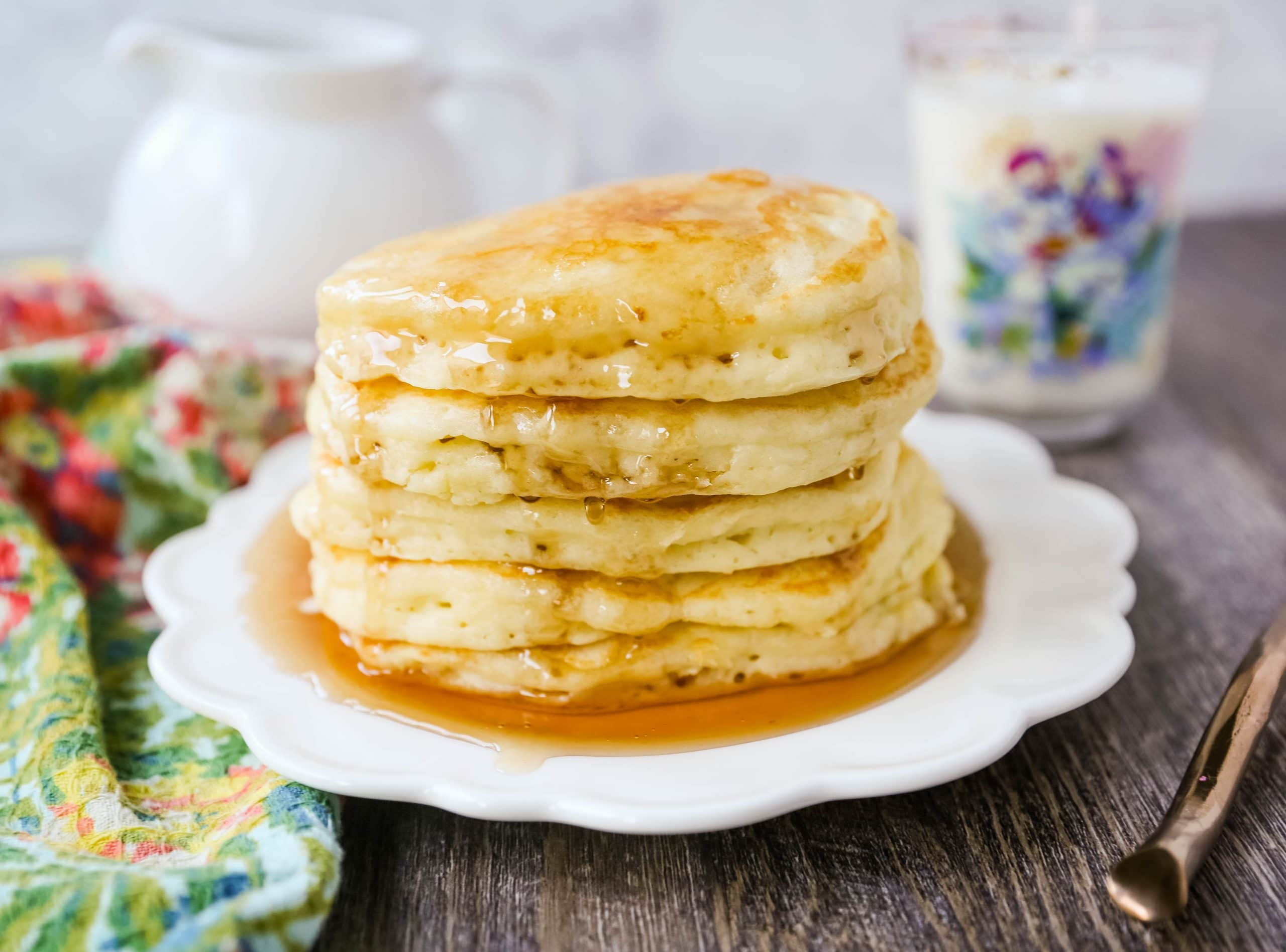 The Best Pancake Recipe. Light and fluffy buttermilk pancakes with a secret ingredient to make it extra tender. This is the only pancake recipe you will ever need! www.modernhoney.com #pancakes #pancake #breakfast #brunch