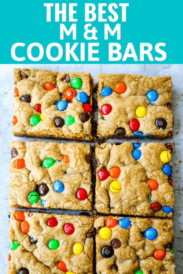 M & M Cookie Bars Soft chewy brown sugar M & M blondie cookie bars. The best M & M Cookie Bars recipe! www.modernhoney.com #bars #dessertbars #chocolatechipcookiebars