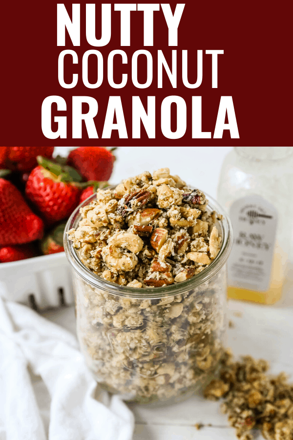 Nutty Coconut Granola Almonds, cashews, walnuts, pecans, coconut, hemp seeds, unsweetened coconut flakes, coconut oil, and honey make this an all-natural snack. www.modernhoney.com #granola #nuttygranola #snack #healthy