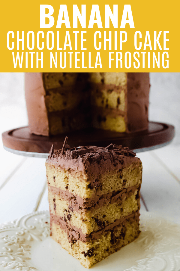 Banana Chocolate Chip Cake with Nutella Frosting. Moist banana cake studded with mini chocolate chips and topped with rich Nutella chocolate frosting. #banana #bananacake #bananachocolate #nutella
