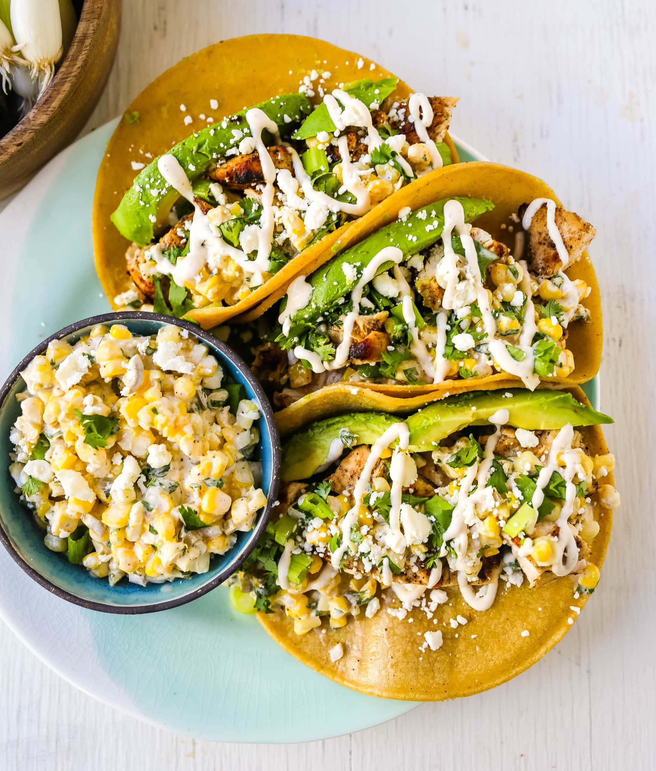 Mexican Street Corn Chicken Tacos Modern Honey