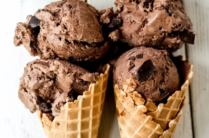 No-Churn Chocolate Chunk Ice Cream. How to make rich, creamy chocolate chunk ice cream at home without an ice cream maker! Homemade chocolate ice cream has never been easier! #icecream #nochurnicecream #chocolateicecream