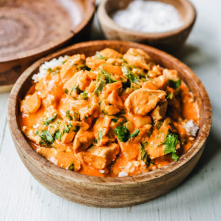 Thai Red Chicken Curry. Flavorful, red curry-spiced chicken curry is way better than any restaurant and you save so much by making it at home! The Best Red Chicken Curry recipe. www.modernhoney.com #curry #chickencurry #thaifood