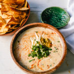 Queso Dip. Creamy green chile queso blanco dip made with the perfect blend of cheeses, green chiles, fresh cilantro, and hot sauce. How to make the perfect homemade queso! #queso #cincodemayo #mexican #mexicanfood