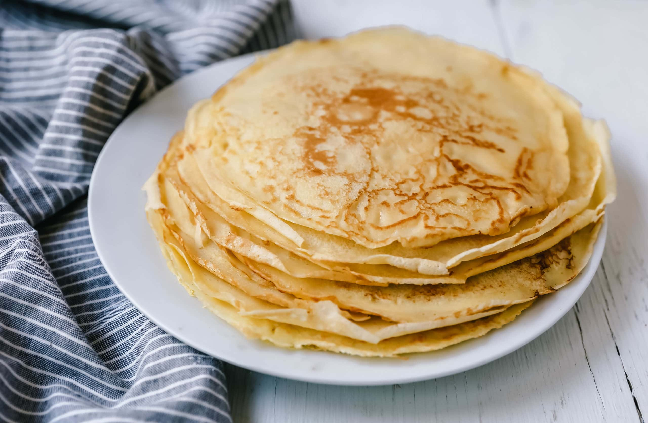 The Best Crepes Recipe. An easy homemade crepe recipe made with simple ingredients -- milk, flour, eggs, sugar, water, and butter. Simple 6-ingredient crepe recipe!