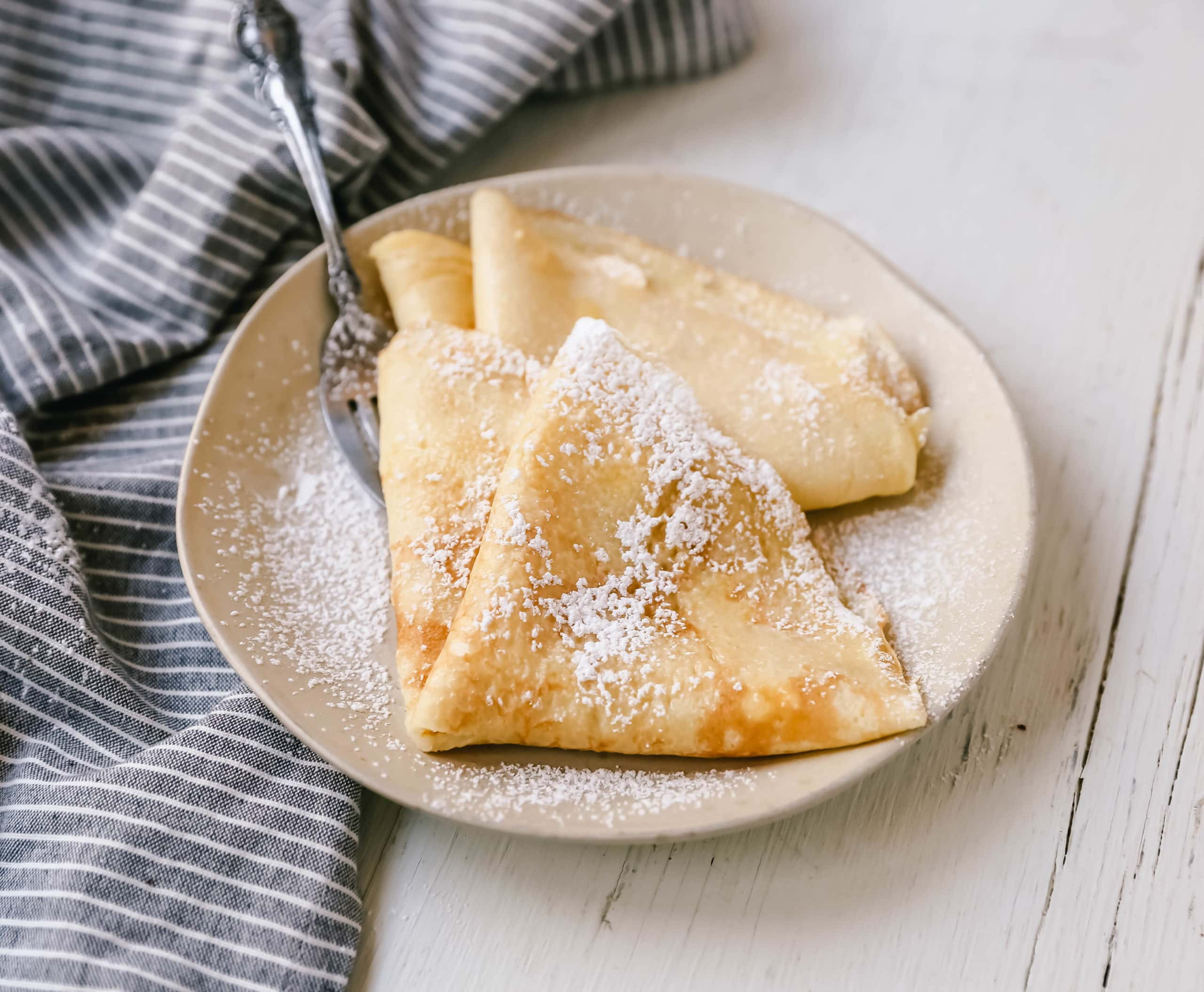 The Best Crepes Recipe. An easy homemade crepe recipe made with simple ingredients -- milk, flour, eggs, sugar, water, and butter. Simple 6-ingredient crepe recipe! #crepes #crepe #breakfast