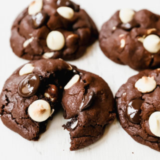 Bakery-Style Chocolate White Chocolate Chip Cookies. Soft, thick, and chewy chocolate cookies with white chocolate chunks. This cookie is for chocolate lovers!