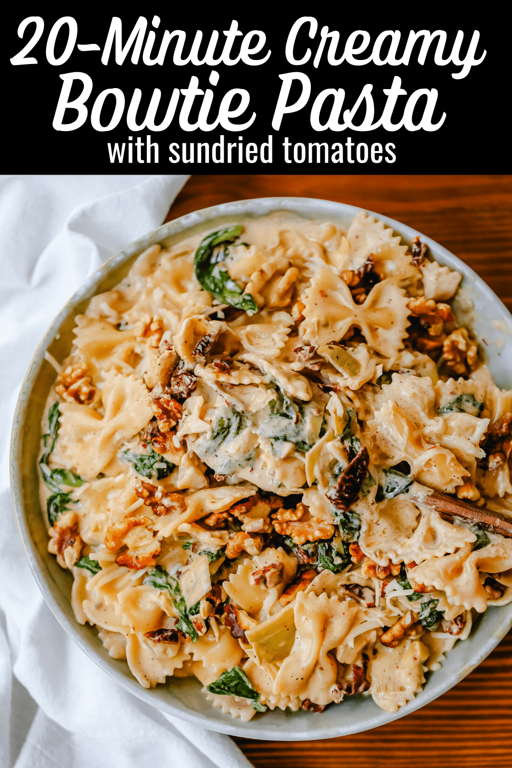 Creamy Bowtie Pasta with Sundried Tomatoes Bowtie Pasta tossed with a garlic sundried tomato cream sauce with artichoke hearts and parmesan cheese and crunchy toasted walnuts. A quick 20-minute weeknight meal.#pasta #dinner