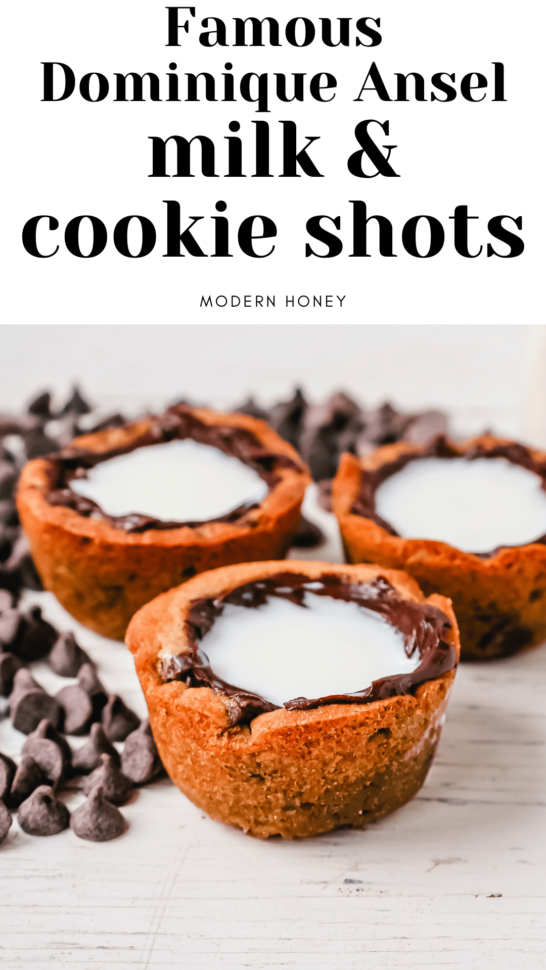 Milk and Cookie Shots The famous Milk and Cookie Shots were made famous at New York City Dominique Ansel Bakery. This soft chocolate chip cookie is shaped into a shot, baked until warm and gooey, lined with chocolate, and served with milk inside. If you love cookies and milk, this is the dessert for you!
